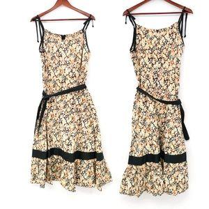 Vintage Cotton Floral Ruffle Belt Tie Top Dress